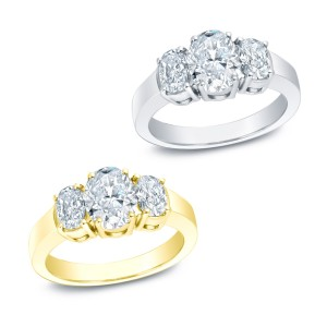 Gold 2ct TDW Certified 3-stone Diamond Ring - Custom Made By Yaffie™