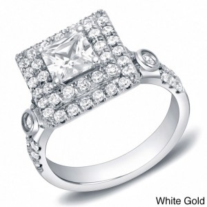 Gold 2ct TDW Certified Princess Cut Double Halo Diamond Ring - Custom Made By Yaffie™