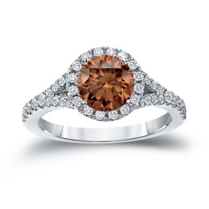 Gold 2ct TDW Round Cut Brown Diamond Halo Engagement Ring - Custom Made By Yaffie™