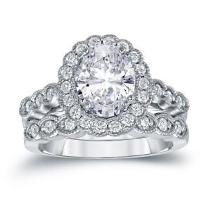 Gold 3 1/8ct TDW Certified Oval Diamond Halo Bridal Ring Set - Custom Made By Yaffie™