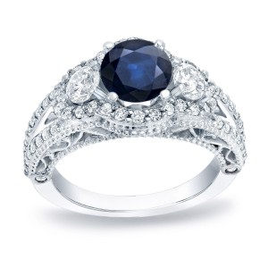 Gold 3/4ct Blue Sapphire and 1 1/4ct TDW Round Diamond Engagement Ring - Custom Made By Yaffie™