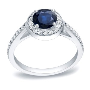 Gold 3/4ct Blue Sapphire and 1/3ct TDW Round Diamond Engagement Ring - Custom Made By Yaffie™
