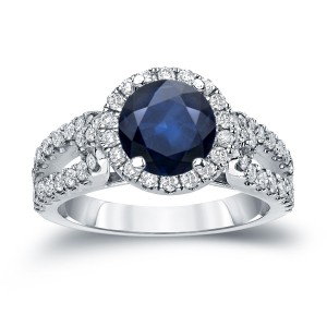 Gold 3/4ct Blue Sapphire and 3/4ct TDW Round Cut Diamond Halo Engagement Ring - Custom Made By Yaffie™