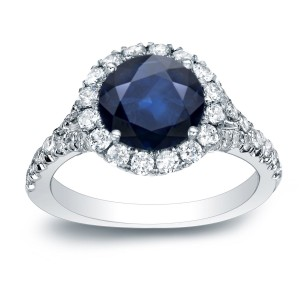 Gold 3/4ct Blue Sapphire and 3/4ct TDW Round Diamonds Engagement Ring - Custom Made By Yaffie™