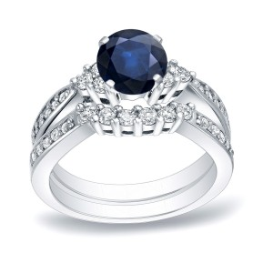 Gold 3/4ct Blue Sapphire and 3/5ct TDW Round Cut Diamond Bridal Ring Set - Custom Made By Yaffie™