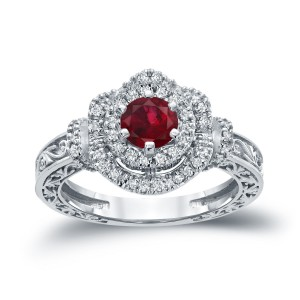 Gold 3/4ct Ruby and 1/3ct TDW Round Diamond Engagement Ring - Custom Made By Yaffie™