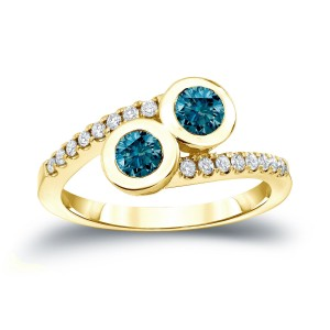 Gold 3/4ct TDW 2-Stone Round Cut Blue Diamond Engagement Ring - Custom Made By Yaffie™