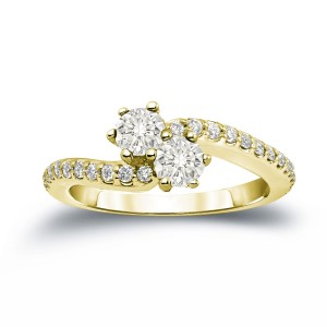 Gold 3/4ct TDW 2-Stone Round Cut Diamond Engagement Ring - Custom Made By Yaffie™