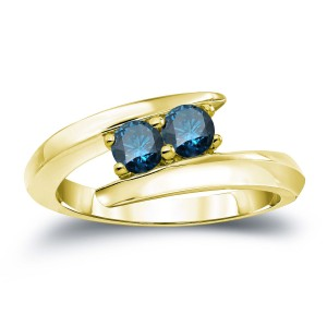 Gold 3/4ct TDW 2-stone Round-cut Blue Diamond Engagement Ring - Custom Made By Yaffie™