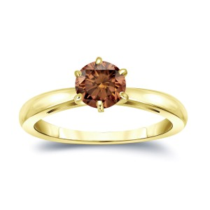 Gold 3/4ct TDW 6-Prong Round Cut Brown Diamond Solitaire Engagement Ring - Custom Made By Yaffie™