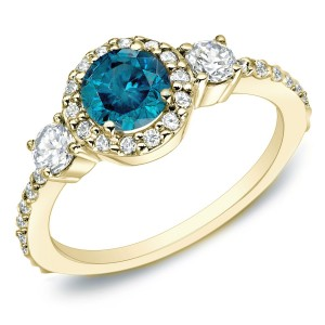 Gold 3/4ct TDW Blue Diamond 3-stone Halo Engagement Ring - Custom Made By Yaffie™