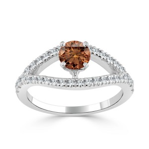 Gold 3/4ct TDW Brown Round Diamond Engagement Ring - Custom Made By Yaffie™