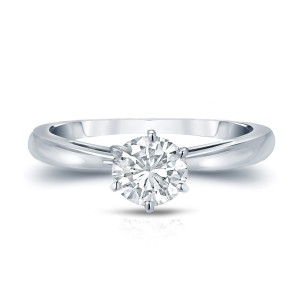 Gold 3/4ct TDW Round-Cut Diamond 6-Prong Solitaire Engagement Ring - Custom Made By Yaffie™