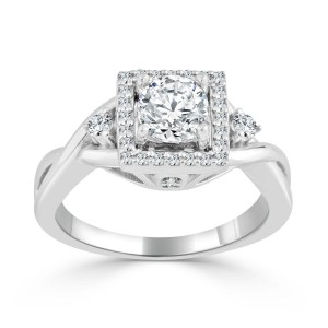 Gold 3/4ct TDW Round Diamond Halo Engagement Ring - Custom Made By Yaffie™