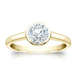 Gold 3/4ct TDW Round-cut Bezel Solitaire Ring - Custom Made By Yaffie™