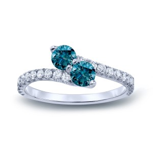 Gold 3/4ct TDW Round-cut Blue Diamond 3-prong, 2-stone Engagement Ring - Custom Made By Yaffie™