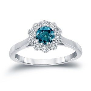 Gold 3/4ct TDW Round-cut Blue Diamond Halo Engagement Ring - Custom Made By Yaffie™