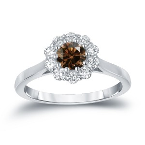 Gold 3/4ct TDW Round-cut Brown Diamond Halo Engagement Ring - Custom Made By Yaffie™