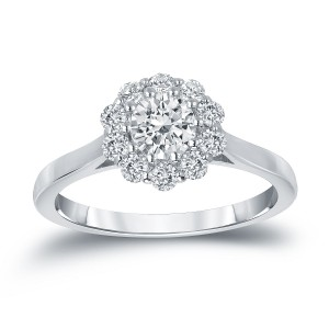 Gold 3/4ct TDW Round-cut Diamond Halo Engagement Ring - Custom Made By Yaffie™