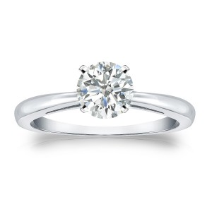Gold 3/4ct TDW Round-cut Diamond Solitaire Engagement Ring - Custom Made By Yaffie™