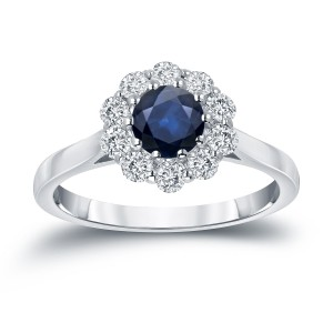 Gold 3/5ct Blue Sapphire and 1/2ct TDW Diamond Halo Engagement Ring - Custom Made By Yaffie™