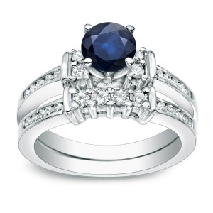 Gold 3/5ct Blue Sapphire and 2/5ct TDW Round Diamond Bridal Ring Set - Custom Made By Yaffie™