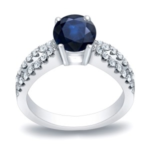 Gold 3/5ct Blue Sapphire and 2/5ct TDW Round Diamond Engagement Ring - Custom Made By Yaffie™