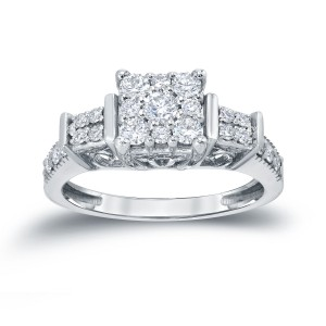 Gold 3/5ct TDW Cluster Diamond Engagement Ring - Custom Made By Yaffie™