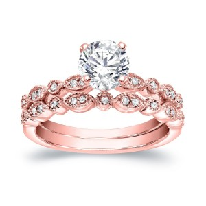 Gold 4/ 5ct TDW Diamond Solitaire Vintage Inspired Engagement Wedding Ring Set - Custom Made By Yaffie™