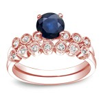 Gold 4/5ct Blue Sapphire and 1/5ct TDW Round Cut Diamond Bridal Ring Set - Custom Made By Yaffie™