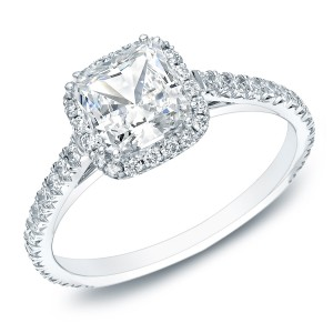 Gold Certified 1 1/2ct TDW Cushion-cut Diamond Halo Engagement Ring - Custom Made By Yaffie™