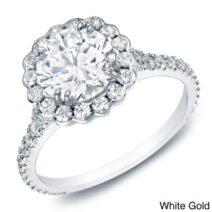 Gold Certified 1 1/2ct TDW Diamond Halo Engagement Ring - Custom Made By Yaffie™