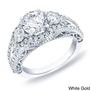 Gold Certified 2ct TDW Vintage Inspired Diamond Engagement Ring - Custom Made By Yaffie™