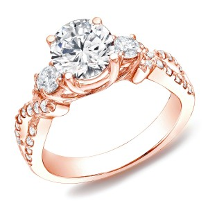 Rose Gold 1 1/2 ct TDW Certified Diamond 3-stone Ring - Custom Made By Yaffie™