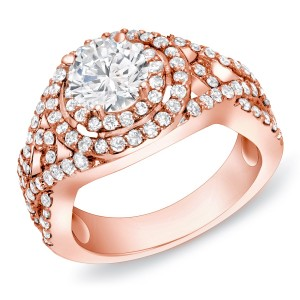 Rose Gold 1 1/2 ct TDW Round Diamond Ring - Custom Made By Yaffie™