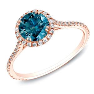 Rose Gold 1 1/2ct TDW Blue Round Diamond Halo Ring - Custom Made By Yaffie™