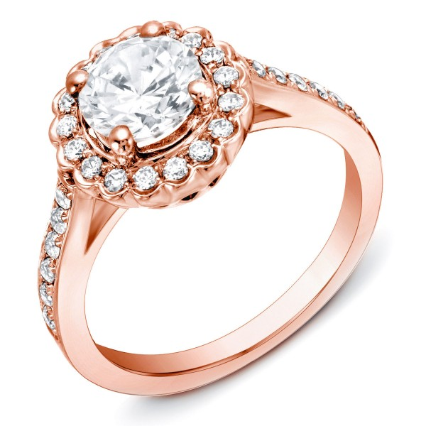 Rose Gold 1 1/3 ct TDW Scalloped Halo Diamond Ring - Custom Made By Yaffie™