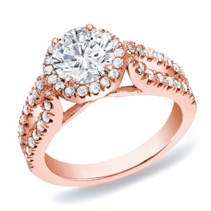 Rose Gold 1 1/4 ct TDW Round Halo Diamond Engagement Ring - Custom Made By Yaffie™
