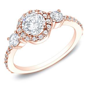 Rose Gold 1 1/4ct TDW 3-stone Diamond Engagement Ring - Custom Made By Yaffie™