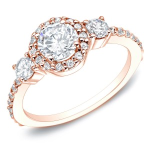 Rose Gold 1 1/4ct TDW 3-stone Diamond Engagement Ring - Custom Made By Yaffie™