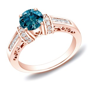 Rose Gold 1 1/6 ct TDW Blue Diamond Ring with Heart - Custom Made By Yaffie™