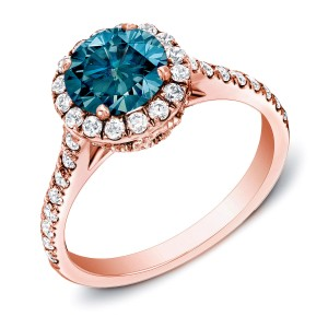 Rose Gold 1 3/4ct TDW Blue Halo Diamond Ring - Custom Made By Yaffie™
