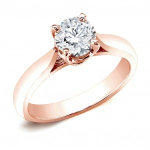 Rose Gold 1/2ct TDW Round Diamond Solitaire Engagement Ring - Custom Made By Yaffie™