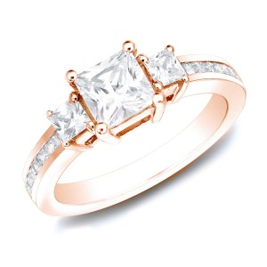 Rose Gold 1.50ct TDW Certified Princess Diamond Engagement Ring - Custom Made By Yaffie™