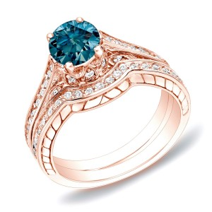 Rose Gold 1ct TDW Blue Diamond Bridal Ring Set - Custom Made By Yaffie™