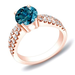 Rose Gold 1ct TDW Blue Diamond Solitaire Engagement Ring - Custom Made By Yaffie™