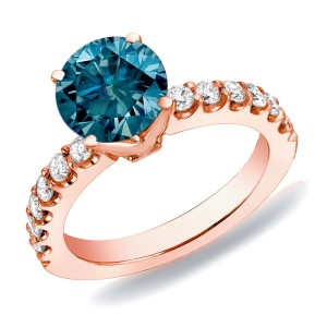 Rose Gold 1ct TDW Blue Round Diamond Solitaire Engagement Ring - Custom Made By Yaffie™