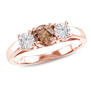 Rose Gold 1ct TDW Brown Round Diamond 3-stone Ring - Custom Made By Yaffie™