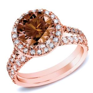 Rose Gold 1ct TDW Brown Round Diamond Halo Bridal Ring Set - Custom Made By Yaffie™