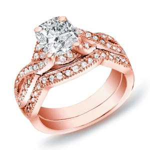 Rose Gold 1ct TDW Certified Cushion Diamond Bridal Ring Set - Custom Made By Yaffie™